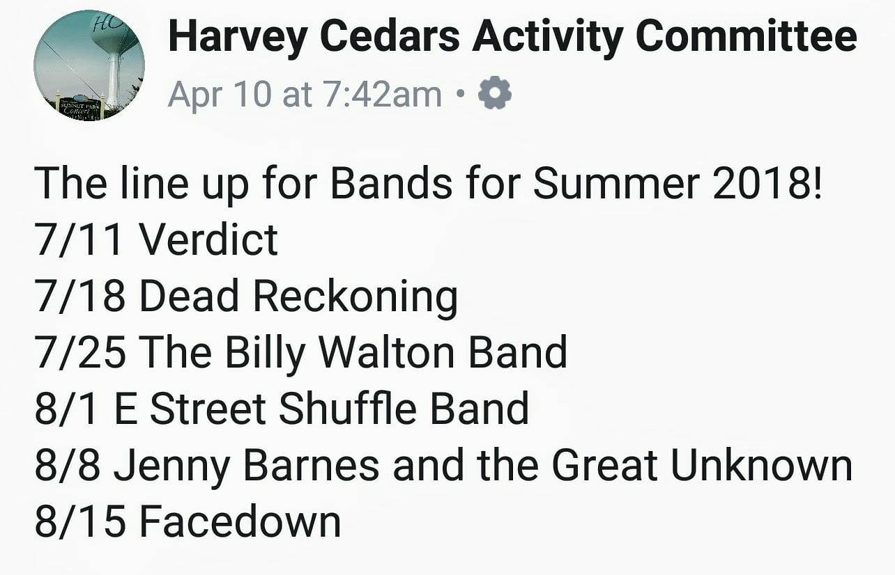 Harvey Cedars Concert Schedule